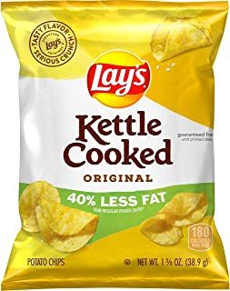 Lay's Kettle Cooked 40% Less Fat Original Potato Chips, 1.375 Ounce (Pack of 64)