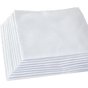 Men's Handkerchiefs,100% Soft Cotton,White Hankie,Pack of 12 Pieces
