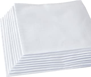 Men's Handkerchiefs,100% Soft Cotton,White Hankie,Pack of 12 Pieces