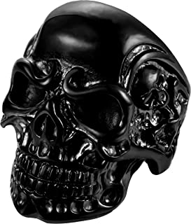 FIBO STEEL خواتم الفولاذ المقاوم للصدأ للرجال النساء الأسود الجمجمة رئيس خواتم ، الحجم 8-14
