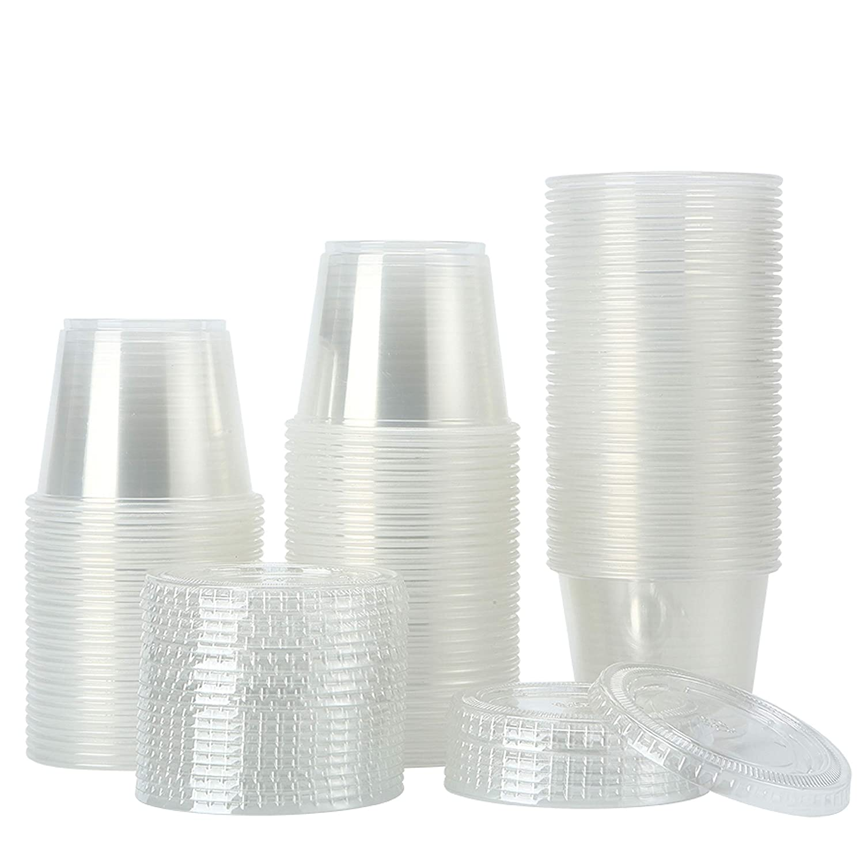200Sets-5.5oz Clear Plastic Disposable with Portion Lids Surprise price Cups Regular dealer