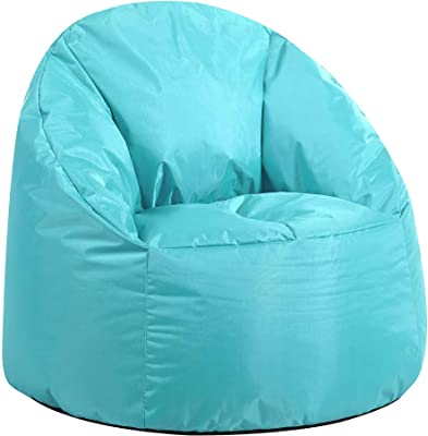 Urban Shop Structured Canvas Round Back Bean Bag Chair, Aqua (NK658241)