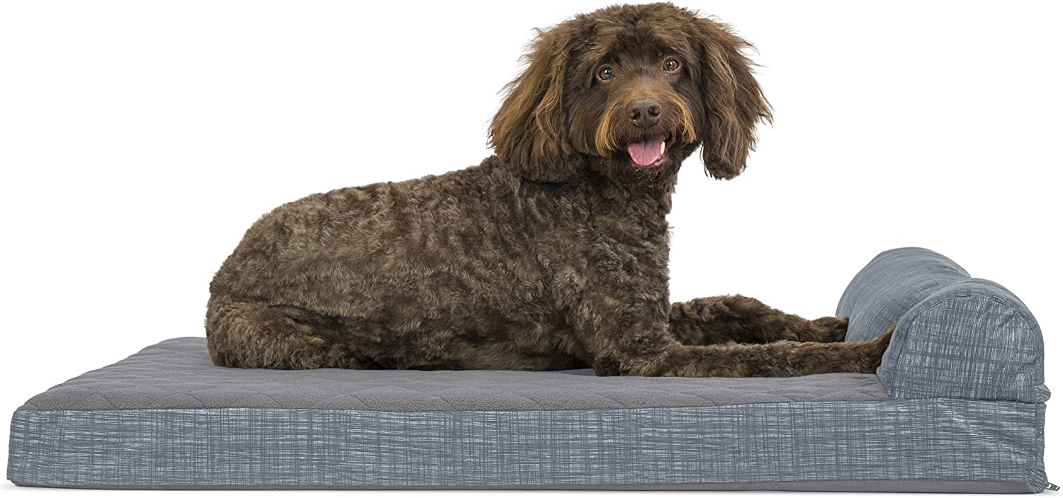 FurHaven Deluxe Orthopedic Chaise Couch Pet Bed for Cats and Dogs, Large, Fleece Titanium