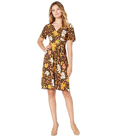 Donna Morgan Vintage Floral Faux Wrap Matte Jersey Dress (Coral/Olive) Women