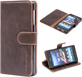 Sony Xperia Z1 Case,Mulbess Leather Case, Flip Folio Book Case, Money Pouch Wallet Cover with Kick Stand for Sony Xperia Z1,Coffee Brown