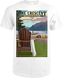 Lake Crescent and Adirondack Chairs - Washington 45827 (Premium White T-Shirt Large)