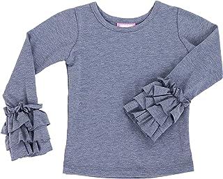 LELEFORKIDS - Toddlers and Girls (2T-7/8) Raw Ruffle-Hem Long Sleeve Basic Top