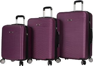 Nicole Miller New York Bernice Collection 3 Piece Hardside Luggage Set Spinner (One Size, Bernice Purple)