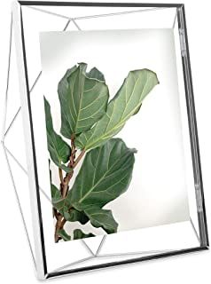 Umbra Prisma Picture Frame, 8x10 Photo Display for Desk or Wall, Chrome