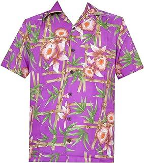 Alvish Hawaiian Shirt 37 Mens, Flamingo Leaf Print Beach Aloha Party Casual Mens Shirt