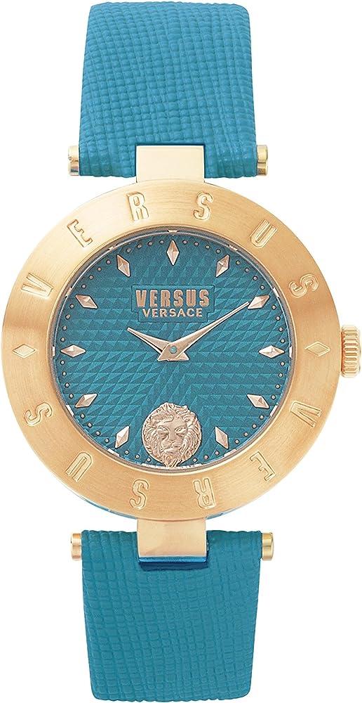 Versus versace orologio analogico da donna in acciaio e pelle S77060017