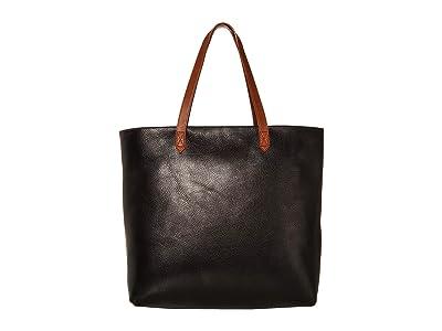 Madewell Zip Top Transport Tote (True Black/Brown) Tote Handbags