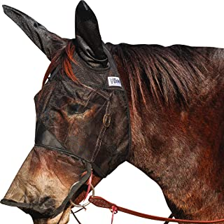 (Arab/Cob/Small Quarter) - Cashel Quiet Ride Fly Mask with Ears and Long Nose for Mule/Donkey - All Sizes