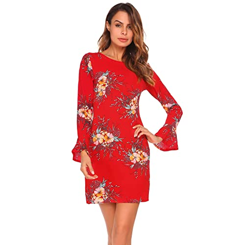 a851d33cf76e ELESOL Women s Bell Long Sleeve Floral Printed Mini Bodycon Casual Dress