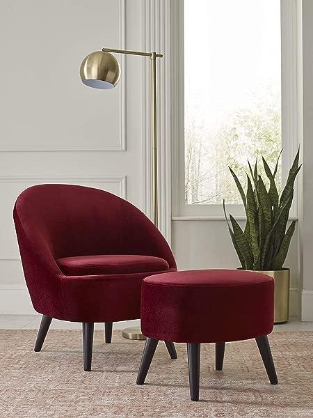 Elle Decor UPH10104A Nico Chair Ottoman Merlot Red