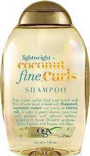 OGX Lightweight + Coconut Fine Curls Shampoo, Lightweight, Shampoo for Curly Hair, Coconut Water Shampoo, Flaxseed Oil, Ci...