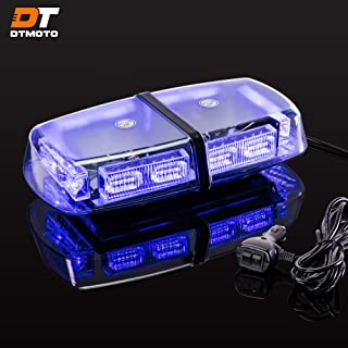 "12"" 36-Watt LED Mini Light Bar w/ 17 Modes, IP66 Waterproof and Magnetic Mount - Blue Warning Strobe Light Bars for Hazard, Emergency, Snow Plow Vehicles"