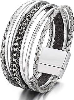 FINETOO Multilayer Leather Wrap Bracelet Handmade Braided Chain Cuff Bangle Alloy Magnet Buckle Bracelets for Women Girls Birthday Gift