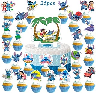 24 pcs Lilo Stitch Cupcake Toppers for Kids Birthday Party Cake Decoration Supplies
