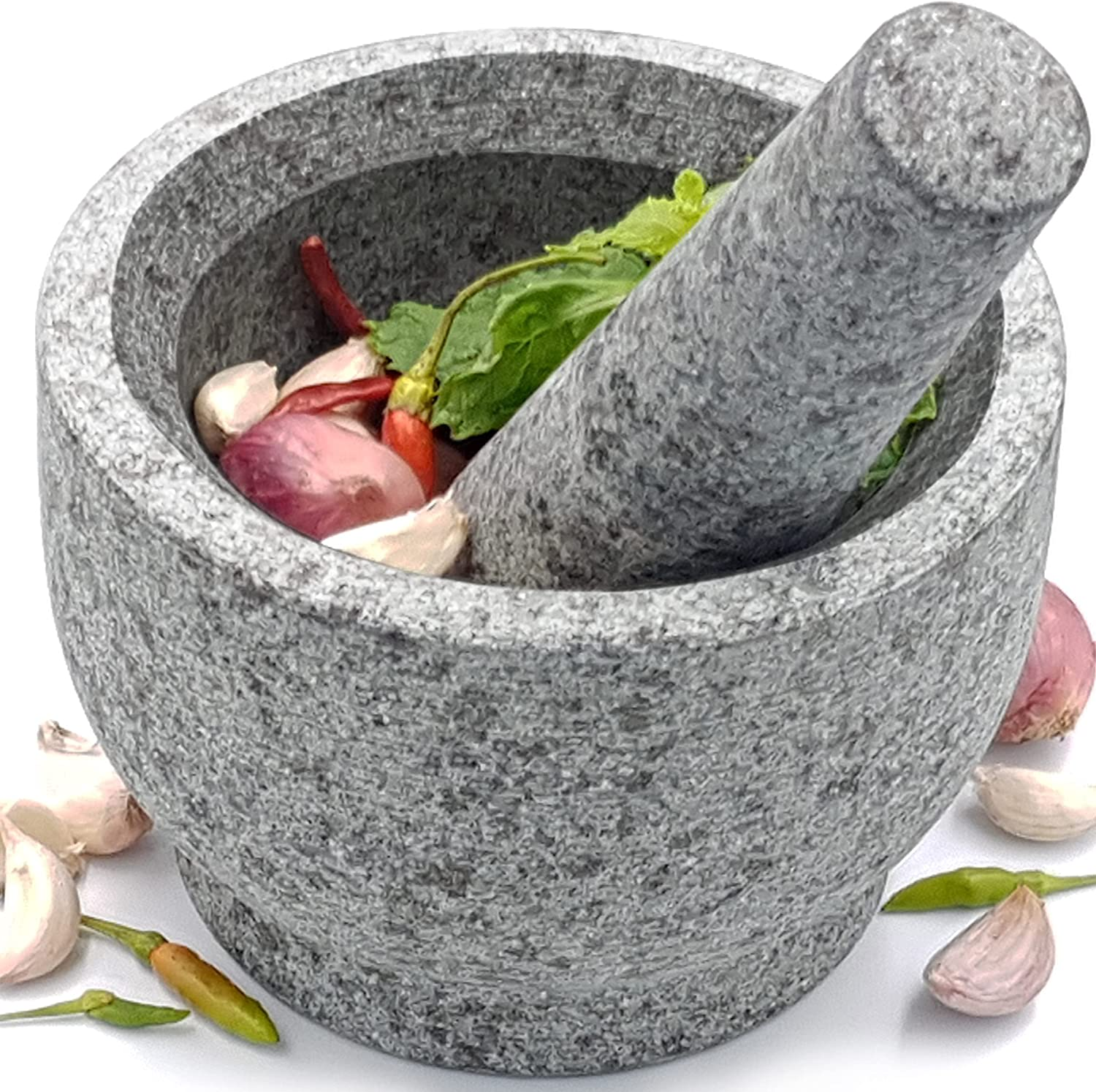 Granite Mortar and Pestle Set – Molcajete Mexicano Pestle and Mortar Set - Large Guacamole Bowl - Spice Grinder Hand - Unpolished 5.2 Inch Holds 1.75 Cups - Ergonomic Sleek Design - Gray