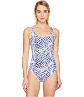 Letarte - Printed Lattice Back One-Piece