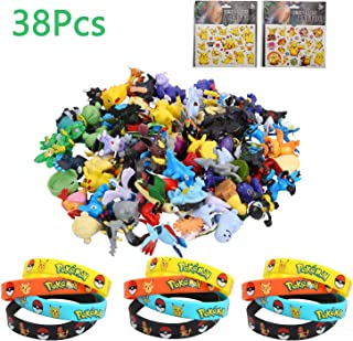 Colmanda Pokemon Monster, 24 Piezas Pokemon Monster Mini Figure, 12 Pokemon Pulsera de Silicona 2 Pegatina Pikachu para Regalos y Fiestas para Niños