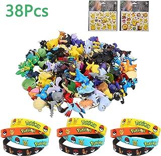 Colmanda Pokémon Mini Figures, 38 Pièces Ensemble de Jouets Pokemon Pokémon Bracelets Pikachu Autocollant PourEnfants et Adultes Party Celebration