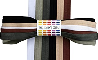 Fold Over Elastic Neutral Set; 1 1/2 or 3 Yards Each of 6 Colors: White, Tan, Brown, Gray, Charcoal and Black FOE 5/8
