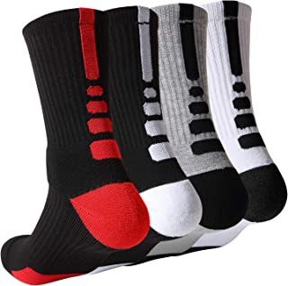 Basketball Socks Mens Athletic Compression Crew Ankle Socks For Basketball & Running