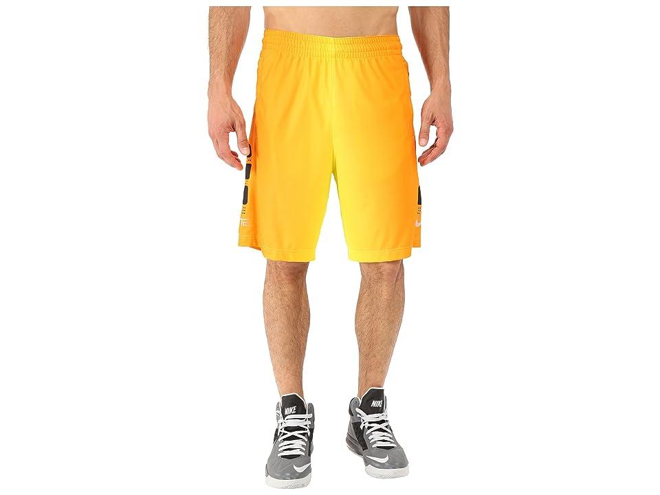 Nike Elite Stripe Plus Basketball Short (Volt/Black/Vivid Orange/Metallic Silver) Men
