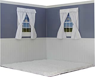 American Doll Rooms Shaker Style Dusty Blue with White Carpet Free Duffel Bag for Accessories