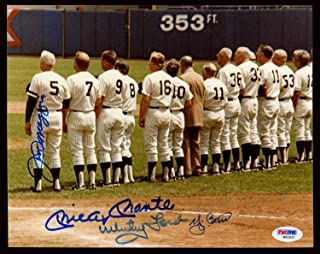 New York Yankees Legends Autographed 8x10 Photo With 5 Total Signatures Including Mickey Mantle, Joe Dimaggio & Yogi Berra PSA/DNA #W00037