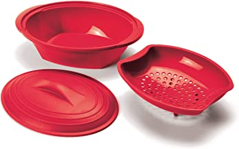 Norpro 180R Silicone Steamer, 32 oz, Red