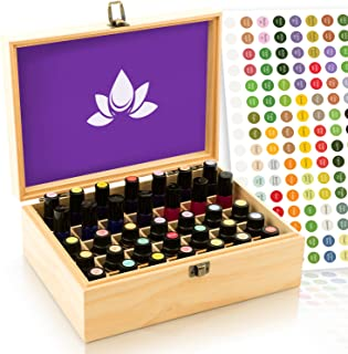 Essential Oil Box - Wooden Storage Case Holds 35 Bottles and Tall Roller Balls. Natural Pine Wood Oils Organizer. Free EO Labels & Foam Pad. Best for Keeping 5ml 10ml, 15ml & 1oz 30 ml Bottle Safe.