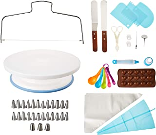 Cakes Decorating kit Supplies by Abbaking Cake - Rotating Turntable - piping tips sets - Instant icing flowers-and more Accessories. Create AMAZING Cakes With This Complete Cake Set! Kit de Reposteria