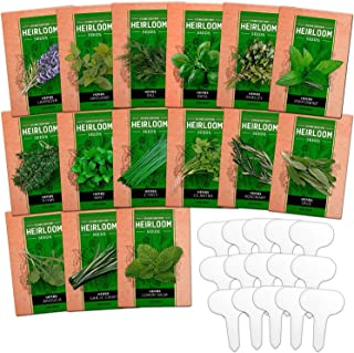 Sponsored Ad - 15 Culinary Herb Seed Vault - Heirloom and Non GMO - 4500 Plus Seeds for Planting for Indoor or Outdoor Her...