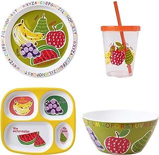 مجموعة أواني الطعام جلوبال إيه بي سي أوف هيلث للأطفال من فيرست ديزاين، مقاس كبير، متعددة الألوان