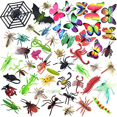 Coopay 51 Pieces Plastic Bugs, Fake Bugs, Fake Spiders, Cockroaches, Scorpions, Crickets, Butterflies and Worms for Education and Christmas Party Favors
