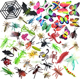 Coopay 51 Pieces Plastic Bugs Toy Figures for Kids Boys, Fake Bugs, Fake Spiders, Cockroaches, Scorpions, Crickets, Butterflies and Worms for Education and Christmas Party Favors