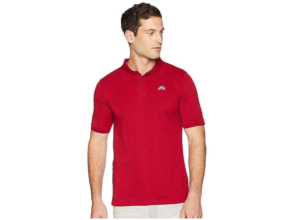 Nike SB SB Dri-FITtm Pique Polo (Red Crush/White) Men
