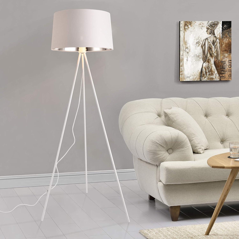 lux.pro Lampadaire Tr/épied Moderne Styl/é Lampe sur Pied Design E27 M/étal Textile Hauteur 150 cm Noir Dor/é