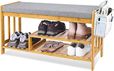 """Shoe Rack Bench, Entryway 3-Tier Shoe Organizer, Bamboo Storage Shelf with Cushion for Boots, Modern Stool for Bedroom Living Room 35.5"""" L x 12"""" W x 19.7"""""""