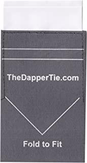 TheDapperTie - Men's Solid Flat Double Toned Pre Folded Pocket Square on Card