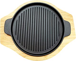 "Round Grill Cast Iron Pan W/Rubber Wood Underliner, for Steak, Meat, Fish (9.25"" Grill)"