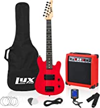 LyxPro 30 Inch Electric Guitar and Starter Kit for Kids with 3/4 Size Beginner's Guitar, Amp, Six Strings, Two Picks, Shoulder Strap, Digital Clip On Tuner, Guitar Cable and Soft Case Gig Bag