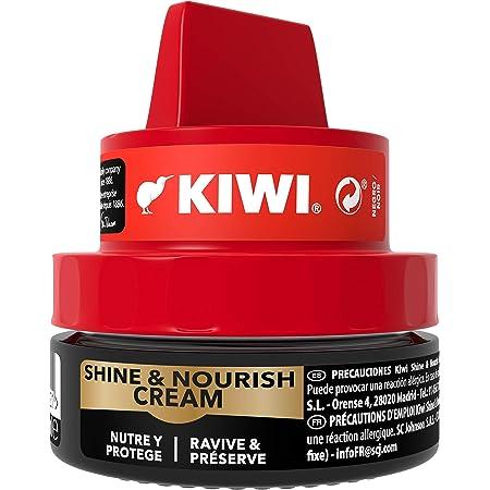 KIWI Shine&Nourish Crème nourrissante en pot pour chaussures, nourrit, protège et fait briller les chaussures en cuir, avec éponge applicatrice, 50ml, Noir