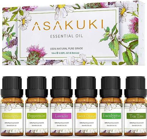 ASAKUKI Aromatherapy Essential Oils includes Lavender, Eucalyptus, Lemongrass, Tea Tree, Sweet Orange and Peppermint,...