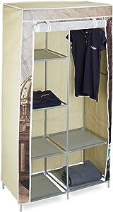 Relaxdays – Armario ropero plegable, tela metal y plástico, 161 x 83.5 x 42.5 cm aprox., 6 estantes y 1 barra para colgar ropa, armario para acampar, capitol