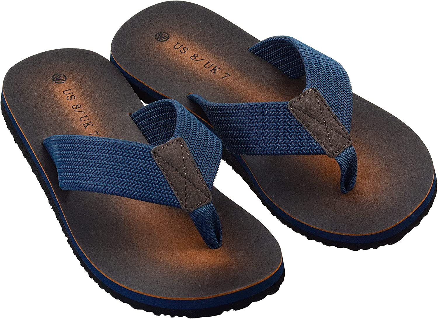 LseLom Mens Flip Flop Sandals with Thongs Strap Comfortable Arch Support & Non Skid Rubber Sole Summer Slippers