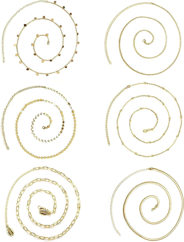 HAIAISO 6PCS Sexy Waist Chain for Women Rhinestone Beads Belly Chain Body Chain Jewelry for Summer